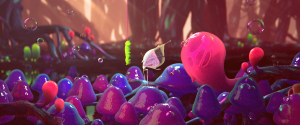 Franck's first new life, as a caterpillar, takes place in a colorful, sticky jungle...where he meets love interest Tara, a butterfly in this world.