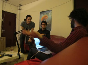 Mathieu directs Hjalti and Francesco as they record new placeholder dialogue for the latest animatic.