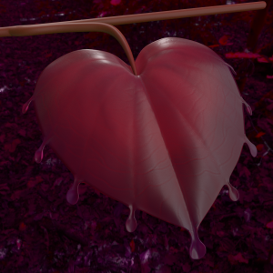 Sarah modeled this heart leaf for Franck to land on when he first wakes up in the jungle. See Sarah and Pablo's weekly folder on the Cloud to find out what went into it.