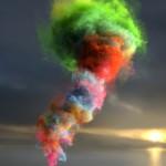 Colored smoke tornado