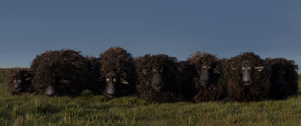 Mathieu tested 14 furballs together in this sheepy animation available on the Cloud (which makes a most Zen-like screensaver), which renders well in Cycles. For the final renders, this flock should be at least double the size (so, 30 sheep).