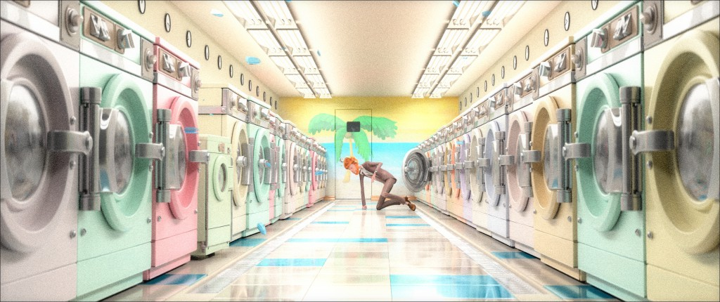 ...You will find a new render of Cosmos Laundromat. Mathieu asked for a more pastel interior (though the final version will likely be slightly darker).
