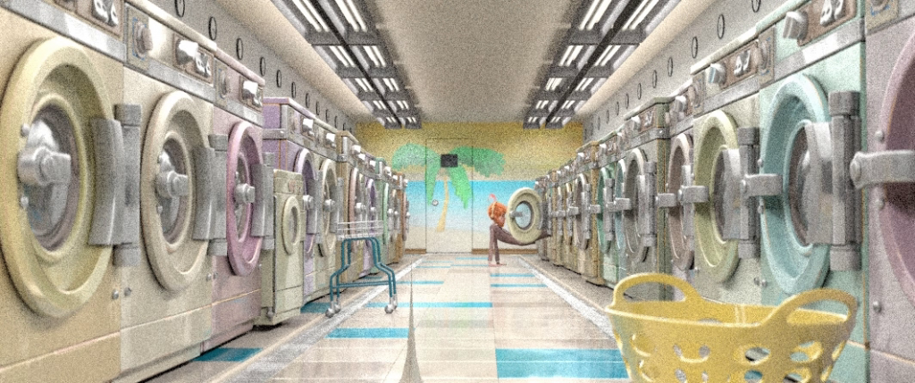 Inside the laundromat